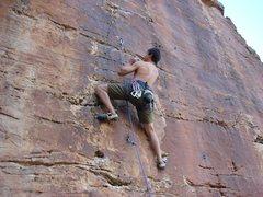 Rock Climbing Photo: John Duran on a 5.10a in Pinon, AZ.