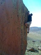 Rock Climbing Photo: John Duran bouldering on Dine' lands.