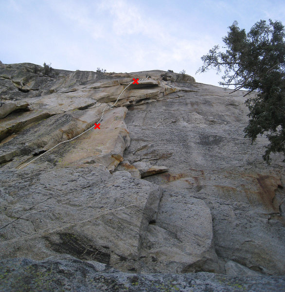 Fright Night (5.12a).  First pitch with both bolts noted.  This pitch is 5.11+ or 5.11- depending on how the crux is climbed.