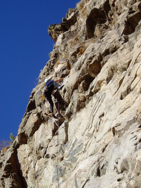 Rock Climbing Photo: The ceiling ends the good independent climbing. Fr...
