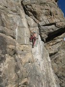 Rock Climbing Photo: The layback flake on the lower half. Photo by Ken ...