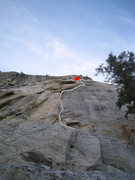 Rock Climbing Photo: Human Fright. P1 anchors noted. P2 follows the gia...