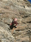 Rock Climbing Photo: Starting the upper sequence. You can see the chalk...