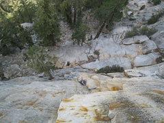 Rock Climbing Photo: Greg Huey following P1 of Human Fright (5.10a)