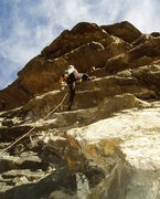 Rock Climbing Photo: Pulling the ceiling. The crux is clipping and reac...