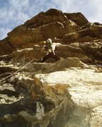 Rock Climbing Photo: Making the reach over the ceiling using a small fl...