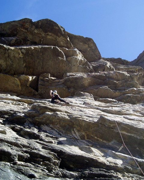Rock Climbing Photo: The route ends at the roof above Luke. The climbin...