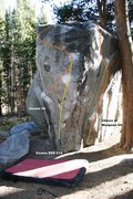 Rock Climbing Photo: East Arete of the Campground Boulder Topo