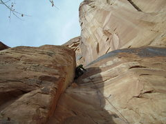Rock Climbing Photo: Pushing through the crux above the last bolt (3 of...