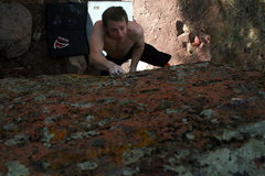 "Rock Climbing Photo: Ian Cruising up the ""seemingly blank face&quo..."