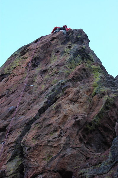 Rock Climbing Photo: View of the upper wall, all 4 bolts visible.