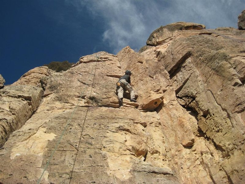 Rock Climbing Photo: Toprope action on Solar Eclipse (5.9). The bolts o...