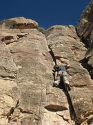 Rock Climbing Photo: Using the crack like I did make this route easier ...