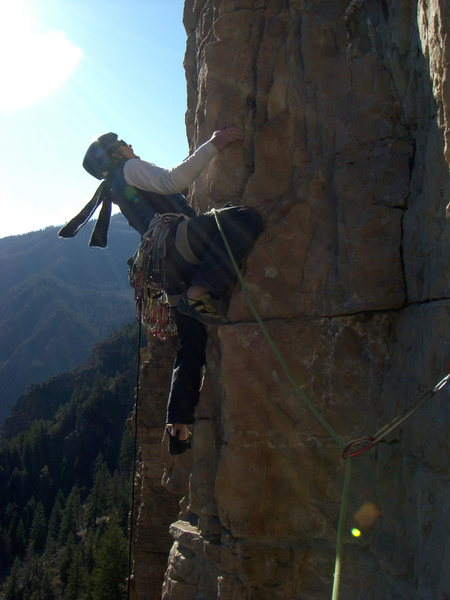 The third pitch (5.11b) of the Horse and Pony Show.