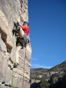 Rock Climbing Photo: Mike low on P2.