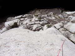 Rock Climbing Photo: From the top of P1. Avoid the angle/rope drag at t...