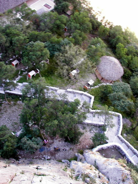 Looking down on the picnic area of the swimming pool complex from the top of Mr. Hanky (5.8)