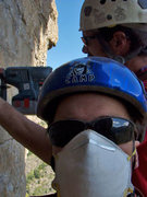 Rock Climbing Photo: Team Danger day 1 of the FA. The masks kept the du...