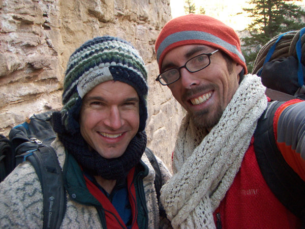 Team Danger: the FA team's self portrait.<br> Photo taken at completion of first ascent.