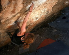 Rock Climbing Photo: Annie crushing the cross through to the pocket.