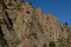 Rock Climbing Photo: Route topo for Spontaneous Order (5.10a, 4 pitches...