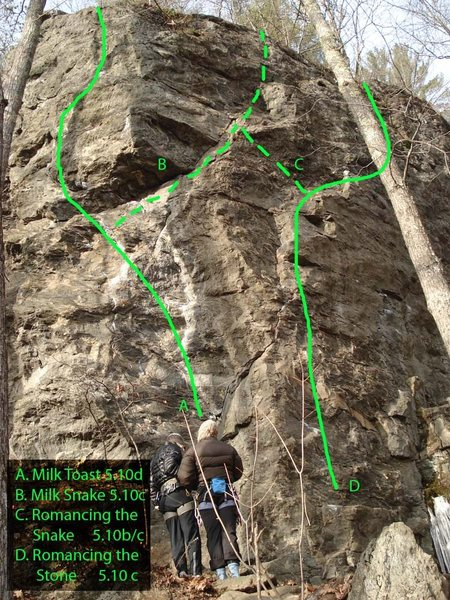 a map of the middle buttress of 5.8 crag...
