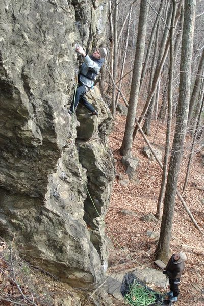 Jeff on a cold morning on bolt and run...nicole kurth on belay...