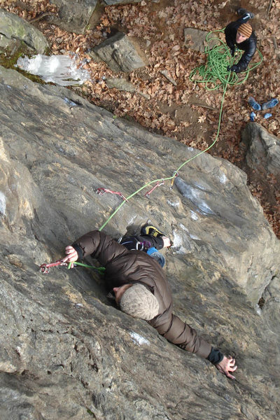 Nicole kurth makes a clip from a funky rest... Jeff giving an attentive belay...