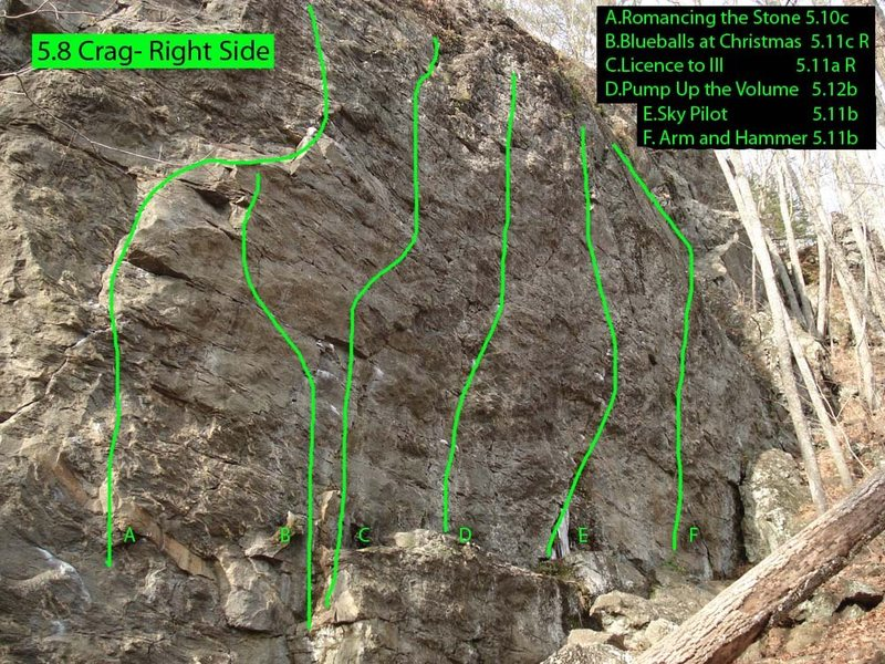 A map of the right (harder) side of 5.8 Crag...