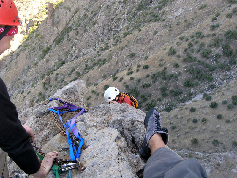 Rock Climbing Photo: The route with the most webbing wins.  :-)  This i...