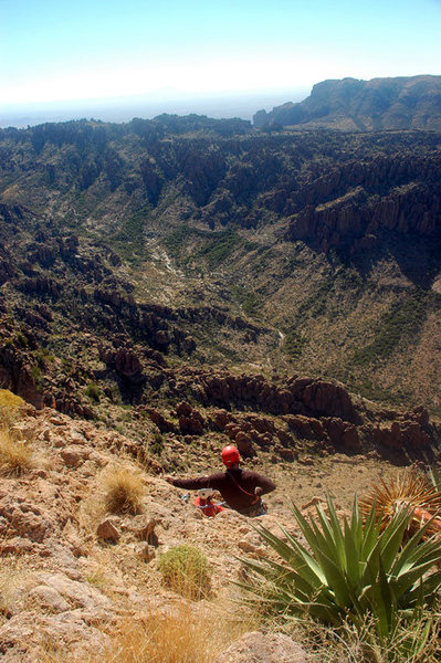 Rock Climbing Photo: View from the summit belay/rappel station looking ...