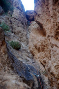 Rock Climbing Photo: The infamous chockstone at the end of the first pi...