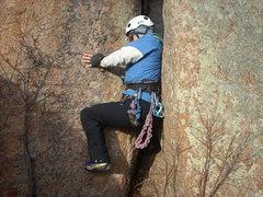 Rock Climbing Photo: Offwidth start.