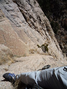 Rock Climbing Photo: Belay station after pitch 2 1/2, on a 70m rope. Th...