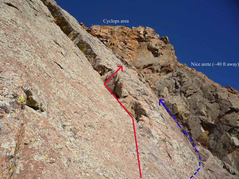 Rock Climbing Photo: Pay attention here! We opted for the route in red ...