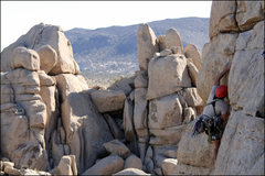 Rock Climbing Photo: Dave up to the horizontal and then off into the th...