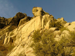 Rock Climbing Photo: Burner buttress. The main split in the face is the...