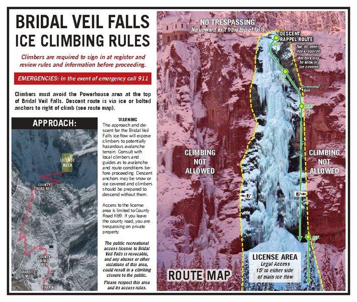 Bridal Veil Falls License Area and Descent.