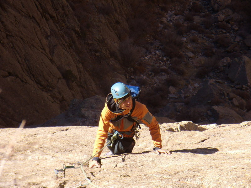 Jordon Griffler following the 5.9 R (our pitch 2).  Checkerboard Wall.  Nov 24th 2008.