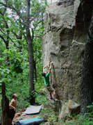 Rock Climbing Photo: Dobbe in June '08 on SV. It was about 80F and pret...