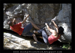 Rock Climbing Photo: Sean and Ruth starting opposing but similar proble...