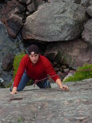 Rock Climbing Photo: Planning out the next slabby move on Dance. Photo ...