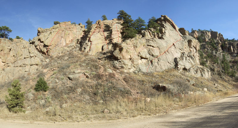 Rock Climbing Photo: Some of the more popular routes @ Buick Rocks  L-&...