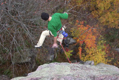 Rock Climbing Photo: Anonymous climber preparing for the worst.   An ex...