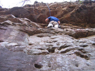 Rock Climbing Photo: On the ledge below the roof