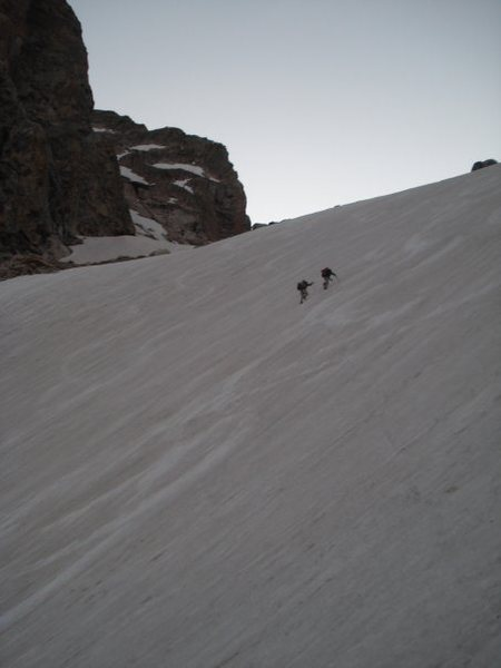 Climbing to base camp of Grand Teton.