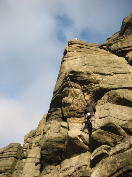 Rock Climbing Photo: Climber seconding The Link
