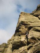 Rock Climbing Photo: Climber seconding The Link