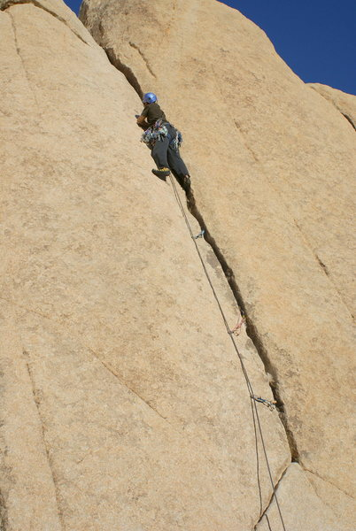 Rock Climbing Photo: Me sewing it up on lead