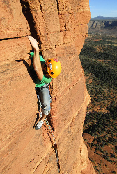 Rock Climbing Photo: pat brown leading the last pitch of coyote tower